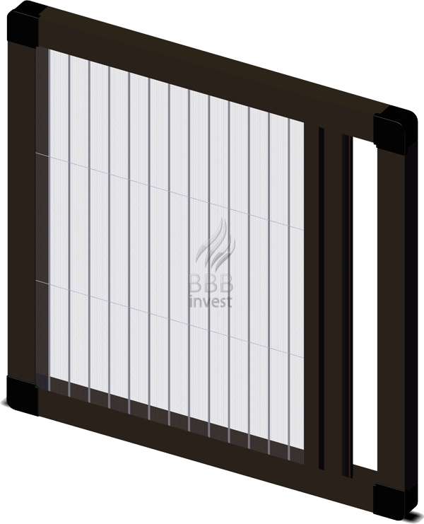Pleated insects screens - horizontal drive - Ral 8014