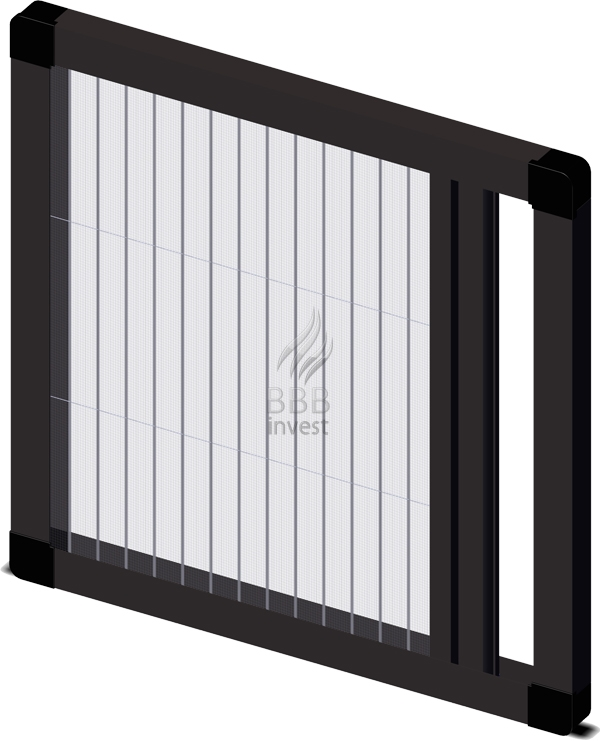 Pleated insects screens - horizontal drive - Ral 8019